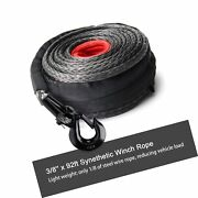 Off Road Boar 3/8and039and039 X 92ft Synthetic Winch Rope 25000lbs Recovery Cable Line...
