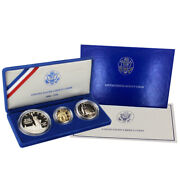 1986- Proof Statue Of Liberty 3 Coin Set Box Ogp And Coa