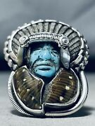 Biggest Craziest Hand Carved Turquoise Chief Sterling Silver Ring