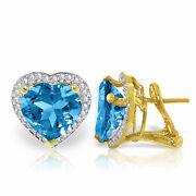 Genuine Blue Topaz Heart Gems And Diamonds French Clip Earrings In 14k. Solid Gold