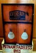 1930s Mazda Eveready Auto Light Bulb Advertising Dealer Cabinet W/new Old Stock