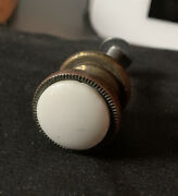 """Ethan Allen Brass White Knob Drawer Pull And Screw Porcelain Salvaged 5/8"""""""