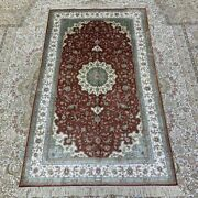 Yilong 3and039x5and039 Red Handknotted Silk Area Rug Oriental Kid Friendly Carpet 256b