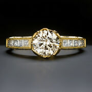 Ideal Cut 0.80ct Vs2 Diamond Engagement Ring Hearts And Arrows Round Yellow Gold