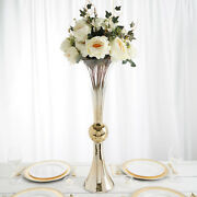 2 Chrome Ombre Gold 30 Tall Reversible Trumpet Glass Wedding Vases Centerpieces
