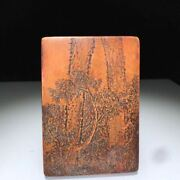 Antique Chinese Hand Carving Leaf Songhua Ink Stone Ink Slab Marks