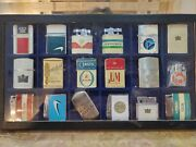 Rare 18 Lot Cigarette Advertising Lighters Gift Set / Collection Case 1840.42