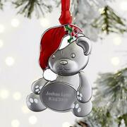 Personalized Teddy Bear Christmas Ornament W/ Red Epoxy Accents Metal 3h