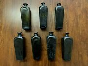 Stunning Set Of 7 1700s Authentic Hand Blown Glass Case Gin Bottles