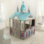 Solid Wood Playhouse Disney Frozen Outdoor Pink Girl Kids Play Castle Tent House