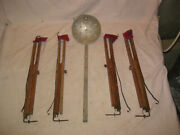 4 Vintage Ice Fishing Tip Ups With Ice Scoop
