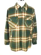 Vintage Alleson Of Rochester Menand039s Shirt Jacket 1x 46/48 Green Plaid Wool Zip