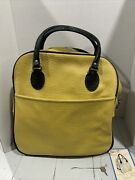 Nwt Sears Travel Master Tote Bag Yellow With Lock /key Vintage Movie Prop