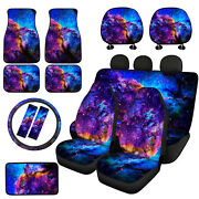 Galaxy Sky Floor Mats Car Front Rear Seat Covers Combo With Seat Belt Pads 14/16