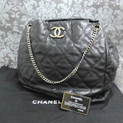 Lamb Skin Leater Quilted Chain Black Shoulder Bag Tote Bag 2332 Rise-on