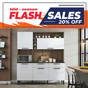 Free Standing Kitchen Cabinet/cupboard With Countertop - Dara White Flatpack Diy