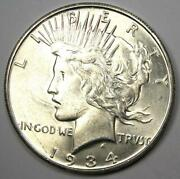 1934-s Peace Silver Dollar 1 - Uncirculated Detail Unc Ms - Scratches - Rare