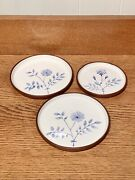 Wellfleet Pottery Set Of 3 Blue Floral Plate Saucer Coasters Signed 1 Small 2 L