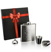 Jack Daniels Stainless Steel Brushed Hip Flask 7 Oz Gift Set With Gift Box