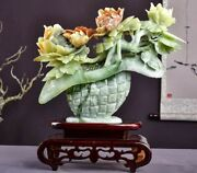 15'' Natural Xiuyan Jade Handcarved Home Decorate A Basket Of Flowers Statue