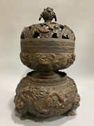 20 Inch Old Pure Red Copper Handcarved Treasure Wealth Beast Dragon Censer