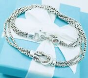And Co Sterling Silver Double Rope Chain Love Knot Pendant Necklace In Box