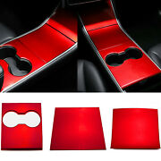 Center Cup Holder Red Console Panel Cover Frame Trim For Tesla Model 3 2017-2021