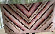 Vintage Pink Crazy Quilt Size Full/queen Pre-owned