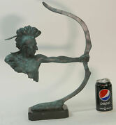 Bronze Mohawk Chief Sculpture Statue Arrow Bow Indian Chief Scout Warrior Gift