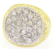 18k Solid Gold 1.40ct Paveh Diamonds Cluster Menand039s Ring