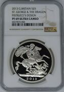 Great Britain 2013 Silver Proof £5 Pounds St. George And The Dragon Ngc Pf69uc