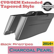 Charcoal Pearl Cvo Tapered Stretched Saddlebags Pinstripes For Harley 2014+