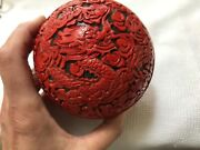 Cinnabar Box 20th Century Vintage Jewelry Box Angry Dragon Carved 4 By 4andrdquo