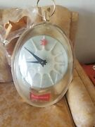 1950and039s Budweiser Hanging Lighted Clock Duck In Flight Motion Rotating Sign