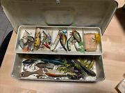 23+ Vintage And Antique Wooden And Plastic Lures And Spinners + Tackle Box Lot