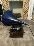 Antique Thomas Edison Standard Phonograph W/horn 75 Cyclinders-works Vintage