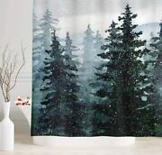 Pine Tree Forest Mountain Landscape Shower Curtain Rusticw/hooks 70x70- New