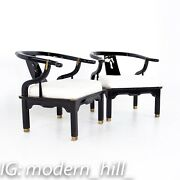 Chinoiserie Ming Style Baker Furniture Brass Black Lacquer Lounge Chairs - Mcm