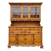Pennsylvania House American Colonial Solid Maple 2 Pc. Breakfront China Cabinet