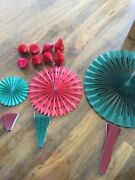 Job Lot Christmas Card Decorations Red And Green