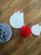 Job Lot Large Christmas Honeycomb Decorations Red And Silver