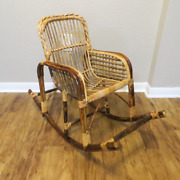 Vintage Primitive Bent Bamboo Rattan Wood And Cane Childs Or Doll Rocking Chair