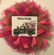 Farmhouse Mesh Green Truck With Florals Country Wreath Mothers Day Wreath