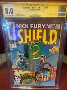 Nick Fury, Agent Of Shield 1 6/1968 - Signed By Jim Steranko  - Cgc 8.0