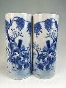 Amazing China Antiques Pair Of Blueandwhite Porcelain Vases With Ancient Personage