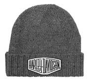 Harley-davidson Mens Concrete Lightning Patch Heavy Ribbed Cuff Beanie Hat Gray