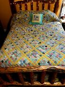 Vintage Yoyo Quilt - 104 X 88 - Matching Pillow - Absolutely Exquisite