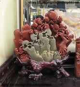 16 Chinese Natural Shoushan Stone Carving Tree Monkey Picking Peach Statue