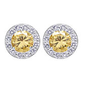 4 Ct Golden Real Moissanite Halo Stud Earrings In 10k White Gold With Screw Back