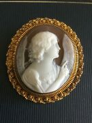 Victorian Yellow Gold Shell Cameo Of The Annunciation Angel.